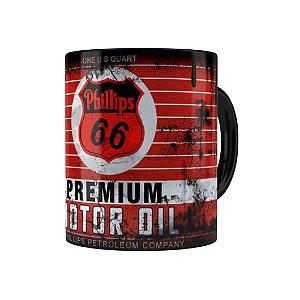 Caneca Porcelana Lata de Óleo Retrô Oil Phillips Preta