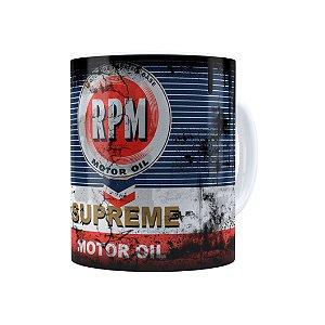 Caneca Porcelana Lata de Óleo Retrô Oil RPM Branca