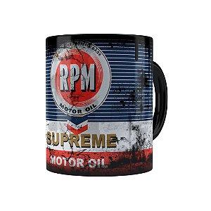 Caneca Porcelana Lata de Óleo Retrô Oil RPM Preta