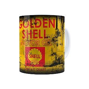 Caneca Porcelana Lata de Óleo Retrô Oil Shell Branca
