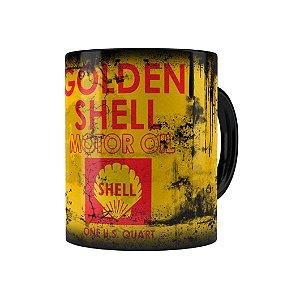 Caneca Porcelana Lata de Óleo Retrô Oil Shell Preta