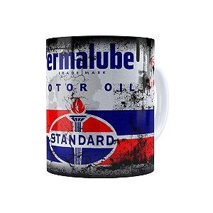 Caneca Porcelana Lata de Óleo Retrô Oil Standard Branca