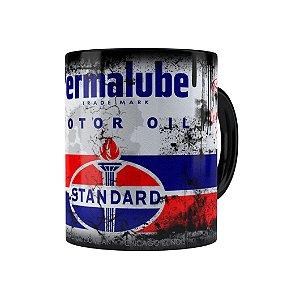 Caneca Porcelana Lata de Óleo Retrô Oil Standard Preta