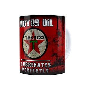 Caneca Porcelana Lata de Óleo Retrô Oil Texaco Branca