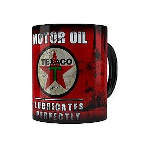 Caneca Porcelana Lata de Óleo Retrô Oil Texaco Preta