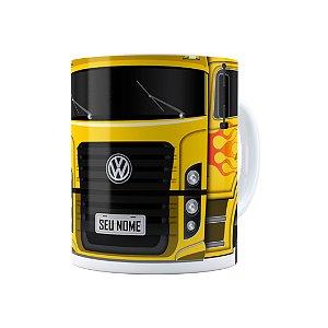 Caneca Personalizada Truck Amarelo 01 com Nome Branca