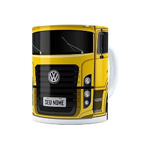 Caneca Personalizada Truck Amarelo 02 com Nome Branca