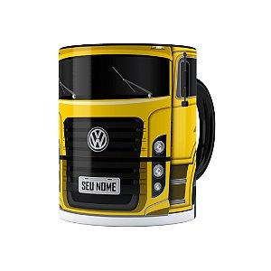 Caneca Personalizada Truck Amarelo 02 com Nome Preta