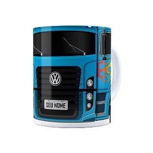 Caneca Personalizada Truck Azul 01 com Nome Branca