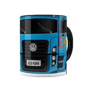 Caneca Personalizada Truck Azul 01 com Nome Preta
