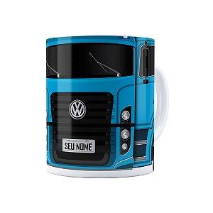 Caneca Personalizada Truck Azul 02 com Nome Branca