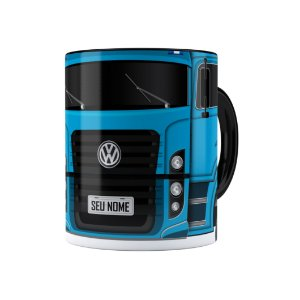 Caneca Personalizada Truck Azul 02 com Nome Preta