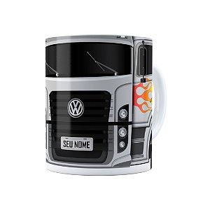 Caneca Personalizada Truck Cinza 01 com Nome Branca