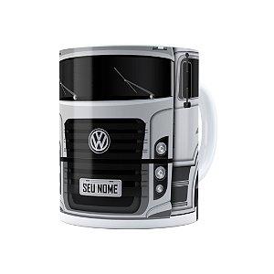 Caneca Personalizada Truck Cinza 02 com Nome Branca