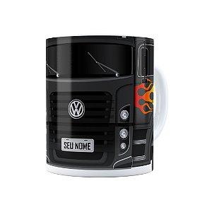 Caneca Personalizada Truck Cinza Escuro 01 com Nome Branca