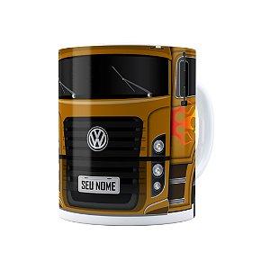 Caneca Personalizada Truck Mostarda 01 com Nome Branca