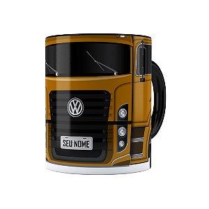 Caneca Personalizada Truck Mostarda 02 com Nome Preta