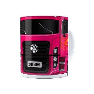 Caneca Personalizada Truck Pink 01 com Nome Branca