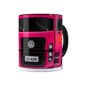 Caneca Personalizada Truck Pink 01 com Nome Preta