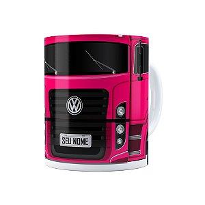 Caneca Personalizada Truck Pink 02 com Nome Branca