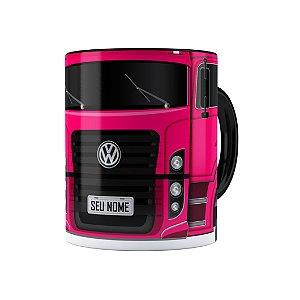 Caneca Personalizada Truck Pink 02 com Nome Preta