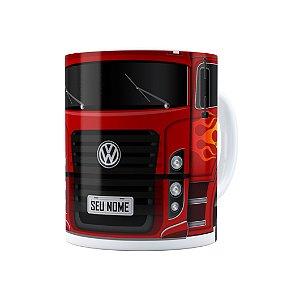 Caneca Personalizada Truck Vermelho 01 com Nome Branca