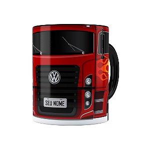 Caneca Personalizada Truck Vermelho 01 com Nome Preta