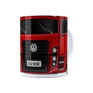 Caneca Personalizada Truck Vermelho 02 com Nome Branca
