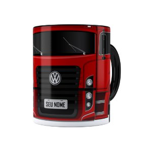 Caneca Personalizada Truck Vermelho 02 com Nome Preta