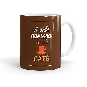 Caneca Porcelana A Vida Começa Depois do Café Branca