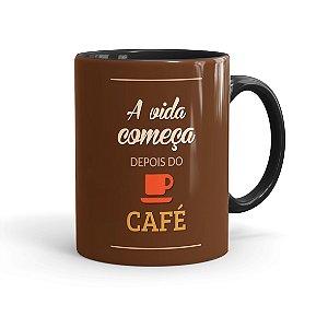 Caneca Porcelana A Vida Começa Depois do Café Preta