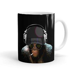 Caneca Porcelana Deejay Monkey Branca