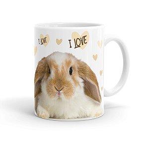 Caneca Porcelana I Love Bunny Branca