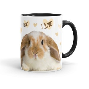 Caneca Porcelana I Love Bunny Preta
