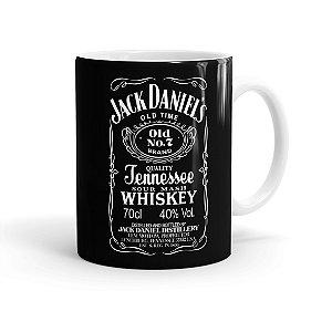 Caneca Porcelana Jack Daniels Whiskey Branca