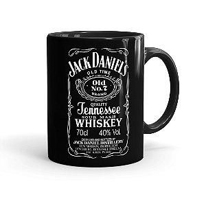Caneca Porcelana Jack Daniels Whiskey Preta