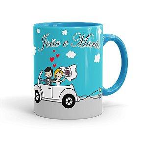 Caneca Personalizada Casamento Lembrança Azul Claro