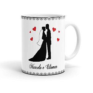 Caneca Personalizada Casamento Noivinhos 02 Branca