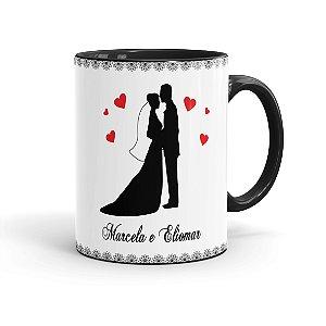 Caneca Personalizada Casamento Noivinhos 02 Preta