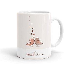 Caneca Personalizada Casamento Pássaros Apaixonados Branca