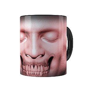 Caneca Porcelana Cabeça de Zombie 01 Preta