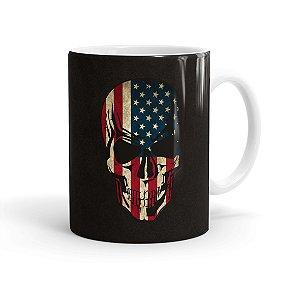 Caneca Porcelana Caveira Bandeira Americana Branca