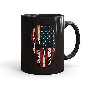 Caneca Porcelana Caveira Bandeira Americana Preta