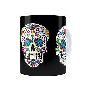 Caneca Porcelana Caveiras Mexicanas 01 Branca