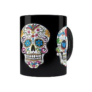 Caneca Porcelana Caveiras Mexicanas 01 Preta