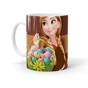 Caneca Chocolate Feliz Páscoa Frozen Anna 01 Branca