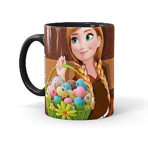 Caneca Chocolate Feliz Páscoa Frozen Anna 01 Preta