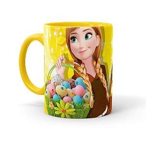 Caneca Chocolate Feliz Páscoa Frozen Anna 02 Amarela