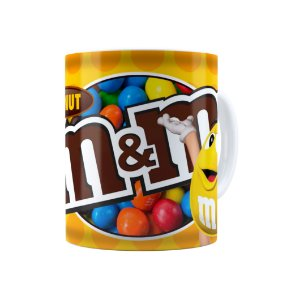 Caneca Porcelana Chocolate M&M'S Peanut Branca