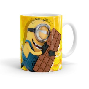 Caneca Chocolate Minions Meu Chocolate Favorito 01 Branca